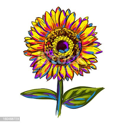 Isolated Colorful Sunflower, all elements are in separate layers and grouped.created as