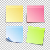 paper set of isolated colorfull sticky notes on transparent background, vector illustration