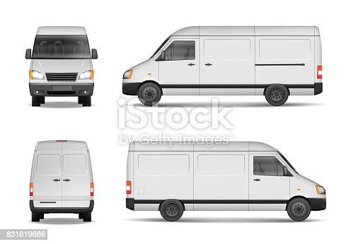 Isolated commercial delivery vehicle set. White van vector template for car branding and advertising. Mini bus from side, back, front View. Vector EPS 10