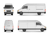 Isolated commercial delivery vehicle set. White van vector template for car branding and advertising. Mini bus from side, back, front View. Vector
