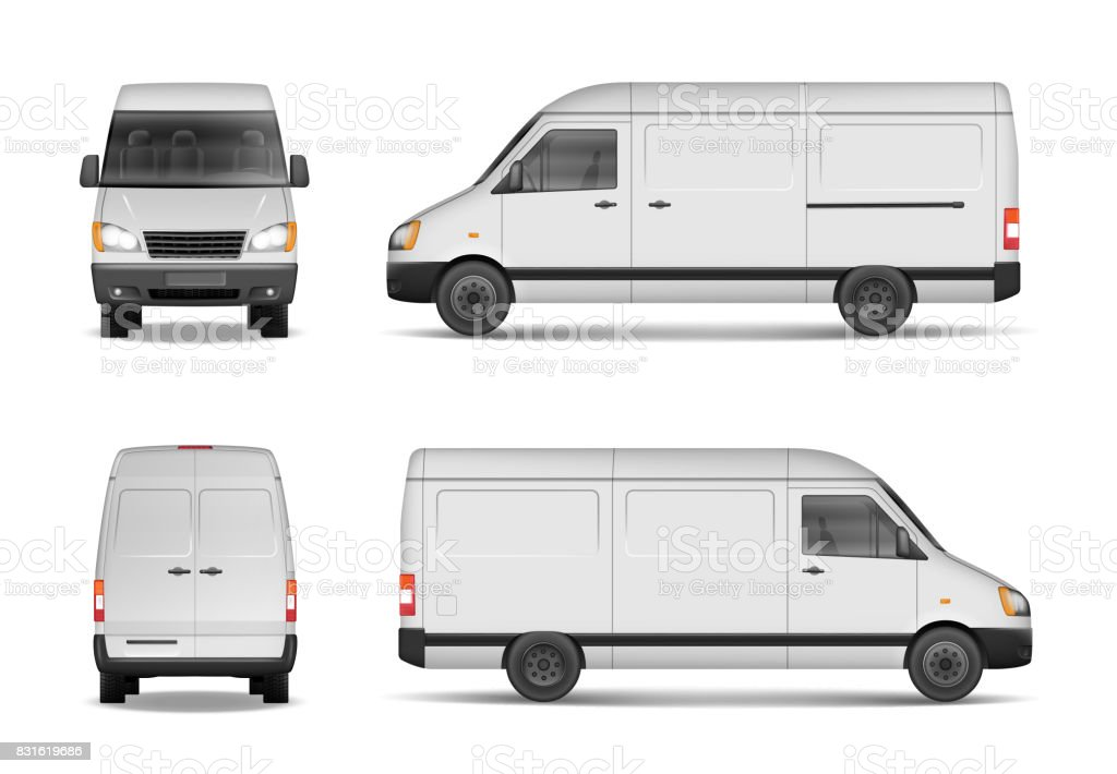 Isolated commercial delivery vehicle set. White van vector template for car branding and advertising. Mini bus from side, back, front View. Vector vector art illustration