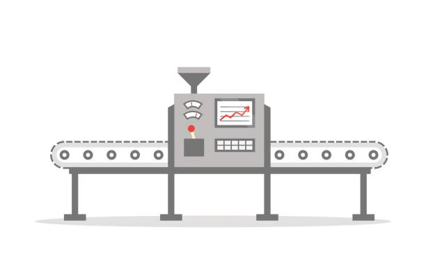 Isolated Conveyor belt in flat design. Factory production-vector illustration. Production concept. vector art illustration