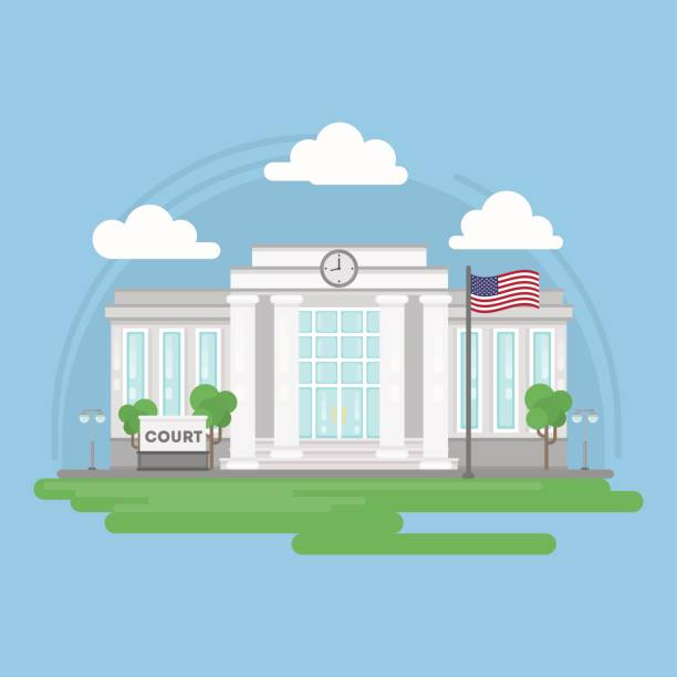 Isolated court building. Isolated court building. Isolated urban building with sign and flag. City landscape with clouds and trees. supreme court stock illustrations