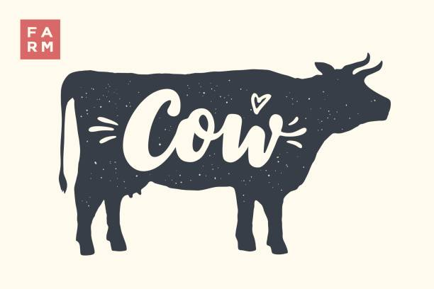 isolated cow silhouette with lettering - cow stock illustrations, clip art, cartoons, & icons