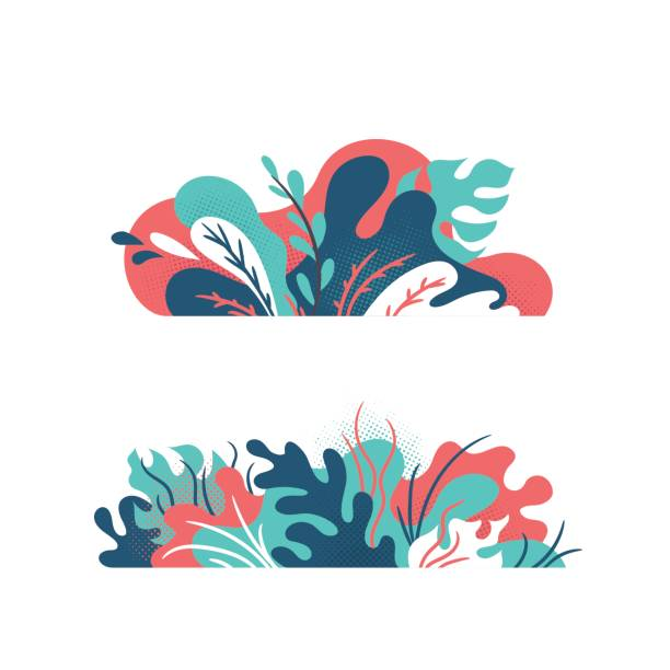 Isolated creative plants, grass and nature floral objects. Abstract modern vector design elements. Isolated creative plants, grass and nature floral objects. sapling stock illustrations