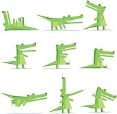 Isolated crocodile cartoon flat style in nine different situations like:  lie on back; creep, look back, standing, walking, sitting, flying, open jaws, feature