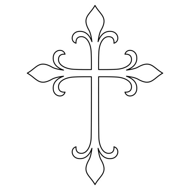Best Clip Art Of A Roman Catholic Cross Tattoo Illustrations