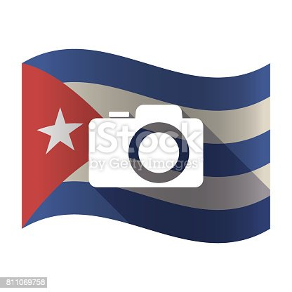 Illustration of an isolated waving Cuba flag with a photo camera