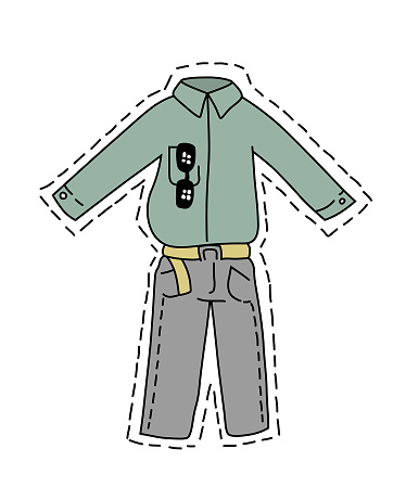 Isolated cut out of man clothes. Shirt, sunglasses and grey trousers with belt. Cartoon style vector illustration.