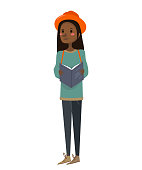 isolated cute african-american girl holding a book, travel guide, wearing an orange hat, a green sweater and blue jeans on a white background. wanderer black woman vector illustration.