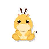 Isolated cute baby giraffe. Wild animal - Vector illustration
