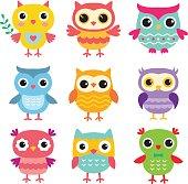 Isolated cute cartoon owls set