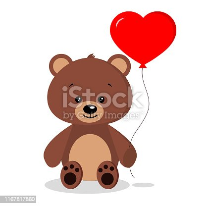 Isolated cute romantic brown bear with red balloon in sitting pose on white background in cartoon flat style. Vector illustration.