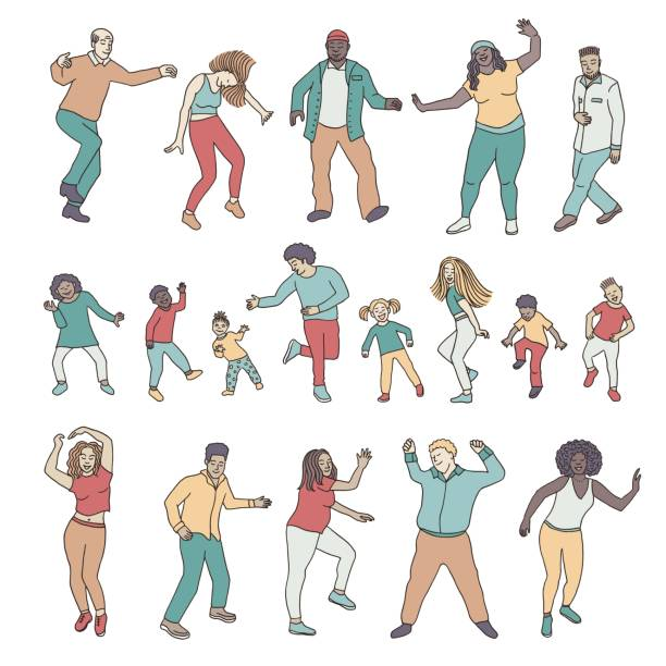 Isolated dancing people, children and adults vector art illustration