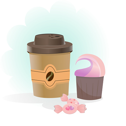 Isolated delicious set of coffee, cupcakes and sweets on a white background. A blurry color cloud is used to focus attention in the background. A glass of coffee like from a coffee shop. Cartoon style