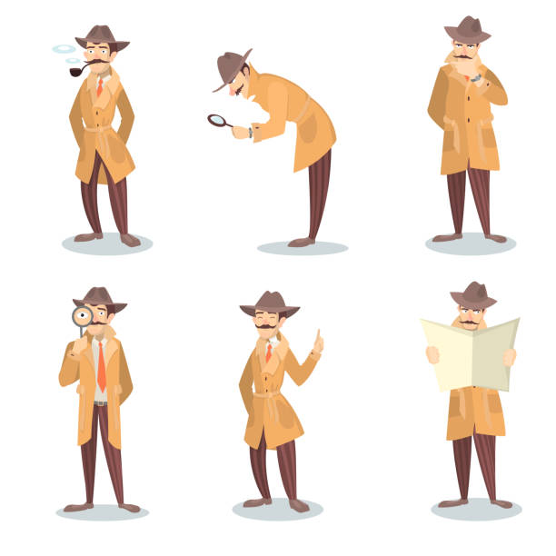Isolated detective set. Isolated detective set. Man in coat and hat with magnifying glass investigating. detective stock illustrations