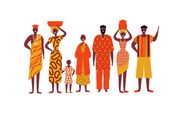 illustrazioni stock, clip art, cartoni animati e icone di tendenza di isolated diverse african people group - bambine africa