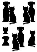 black isolated dog and cat silhouette on white background