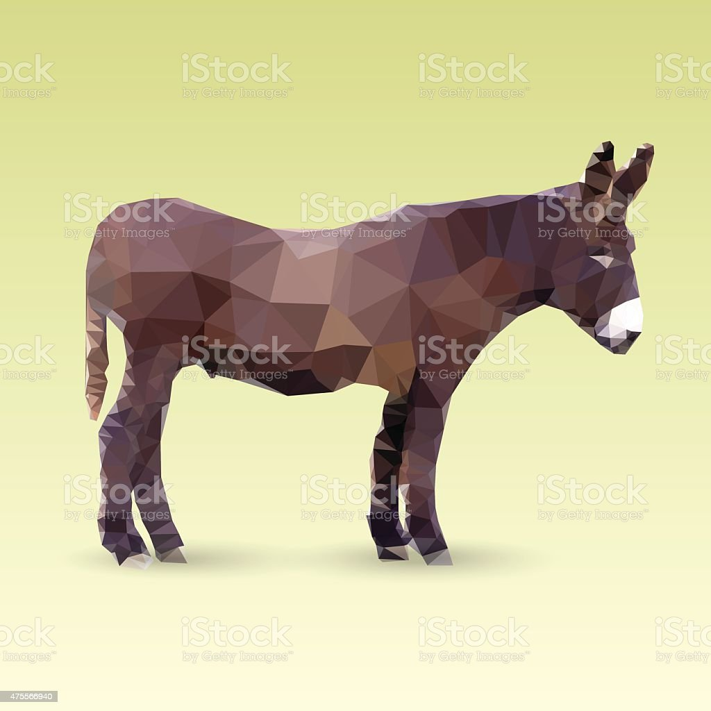 Isolated Donkey illustration made with triangles. vector art illustration