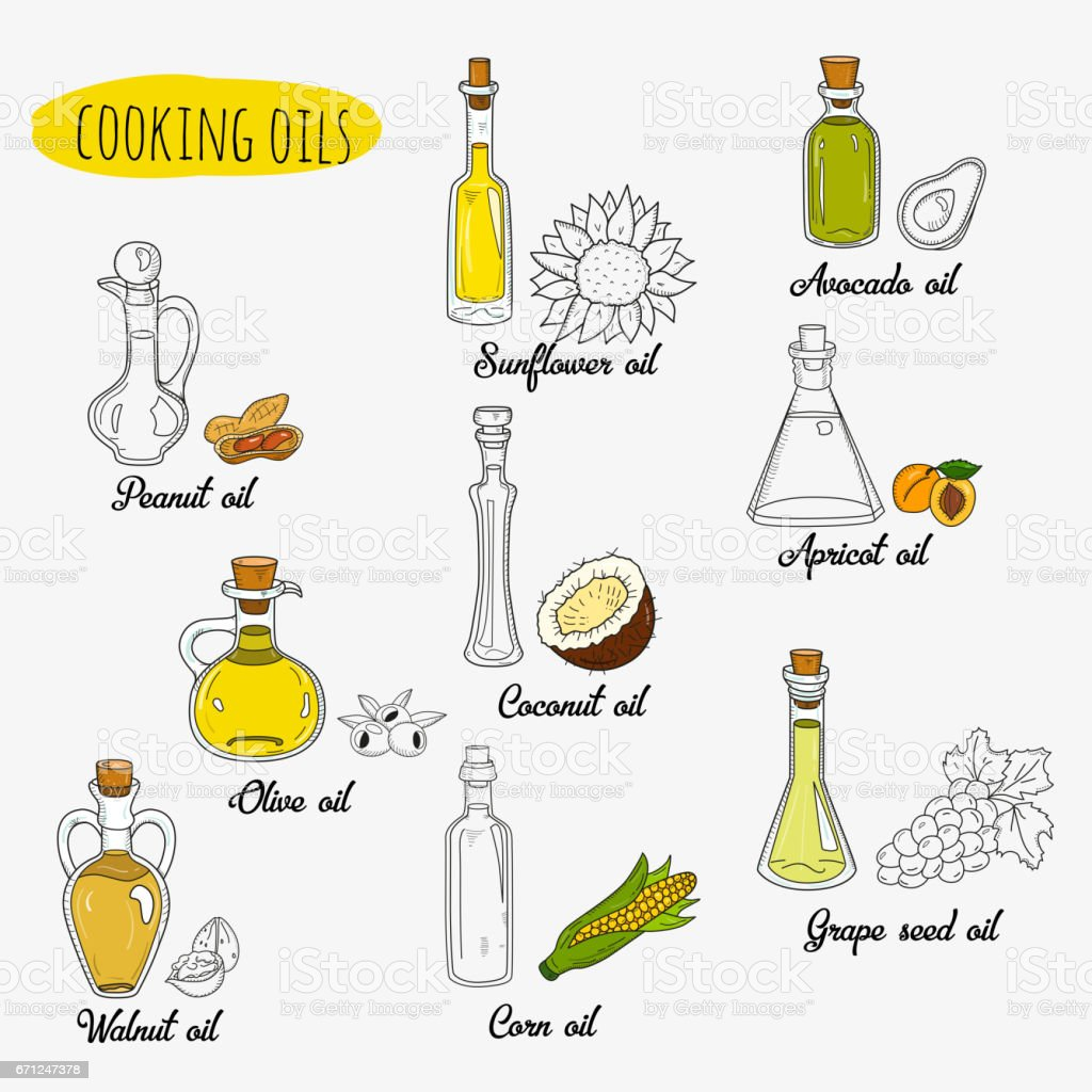 9 isolated doodle cooking oils. Mixed colored and outline vector art illustration