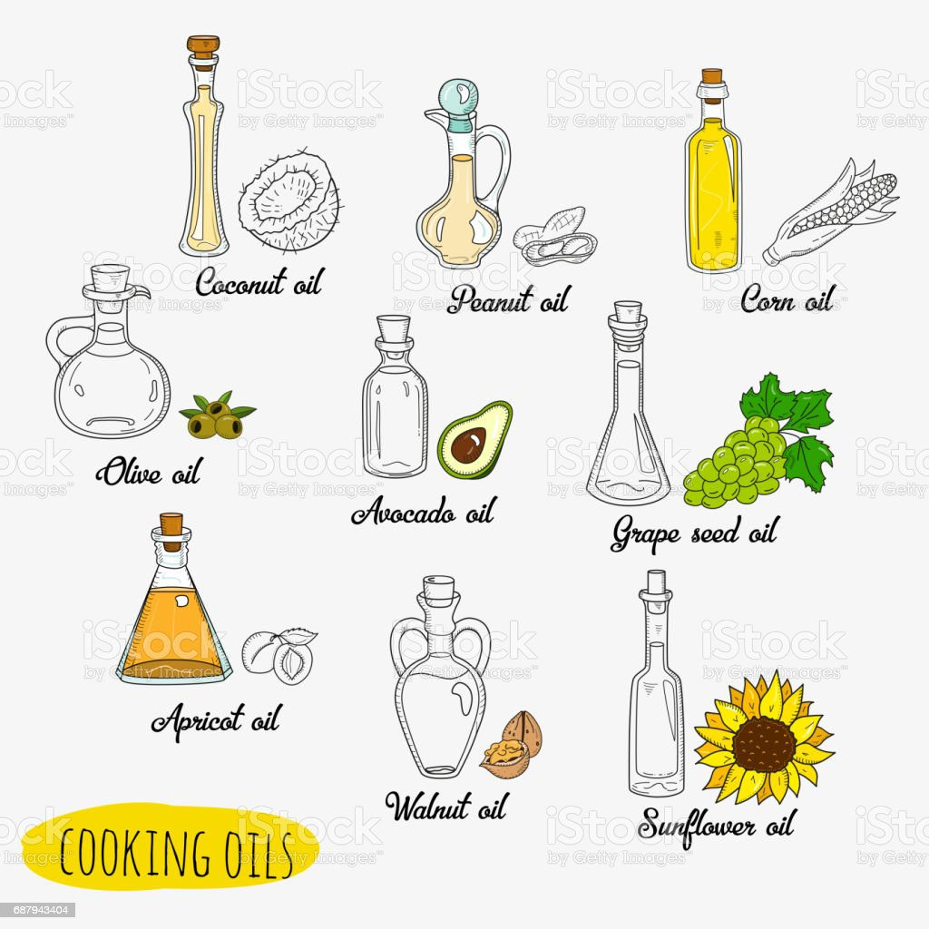 9 isolated doodle cooking oils vector art illustration