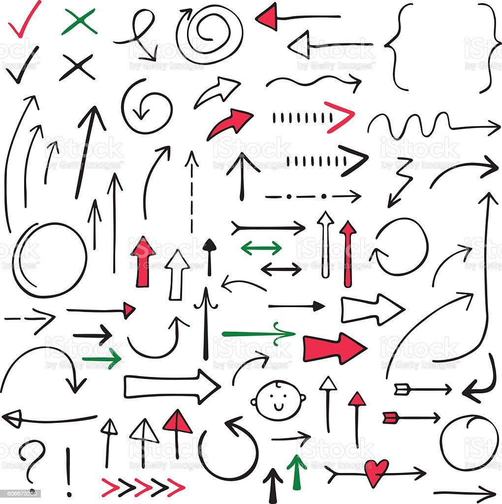 Isolated doodle vector arrows set, hand drawn vector art illustration