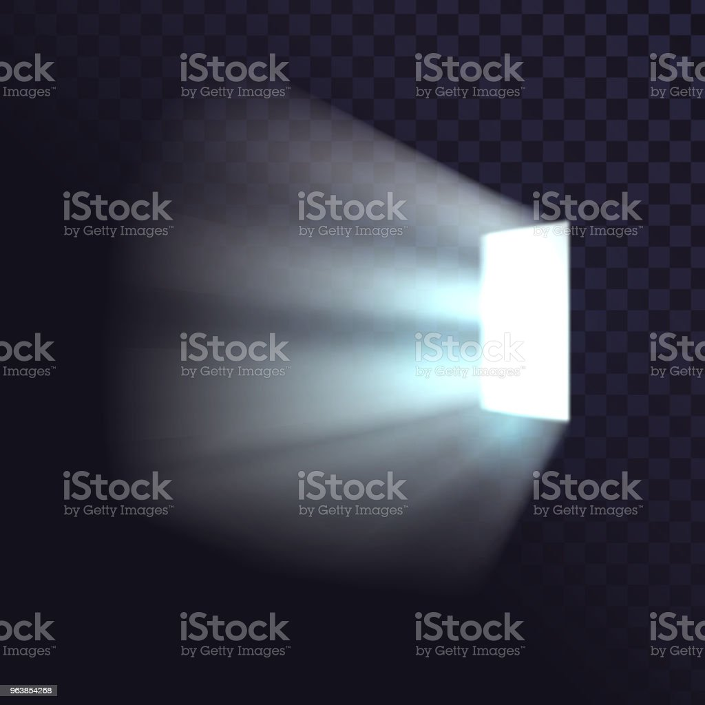 Isolated door from a dark room, a bright light, a window, a square light source - Royalty-free Black Color stock vector