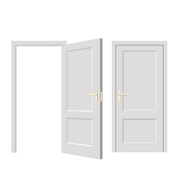 Isolated doors. Realistic vector illustration Isolated objects. Open door. Close door. Realistic vector illustration. Wooden door vehicle door stock illustrations