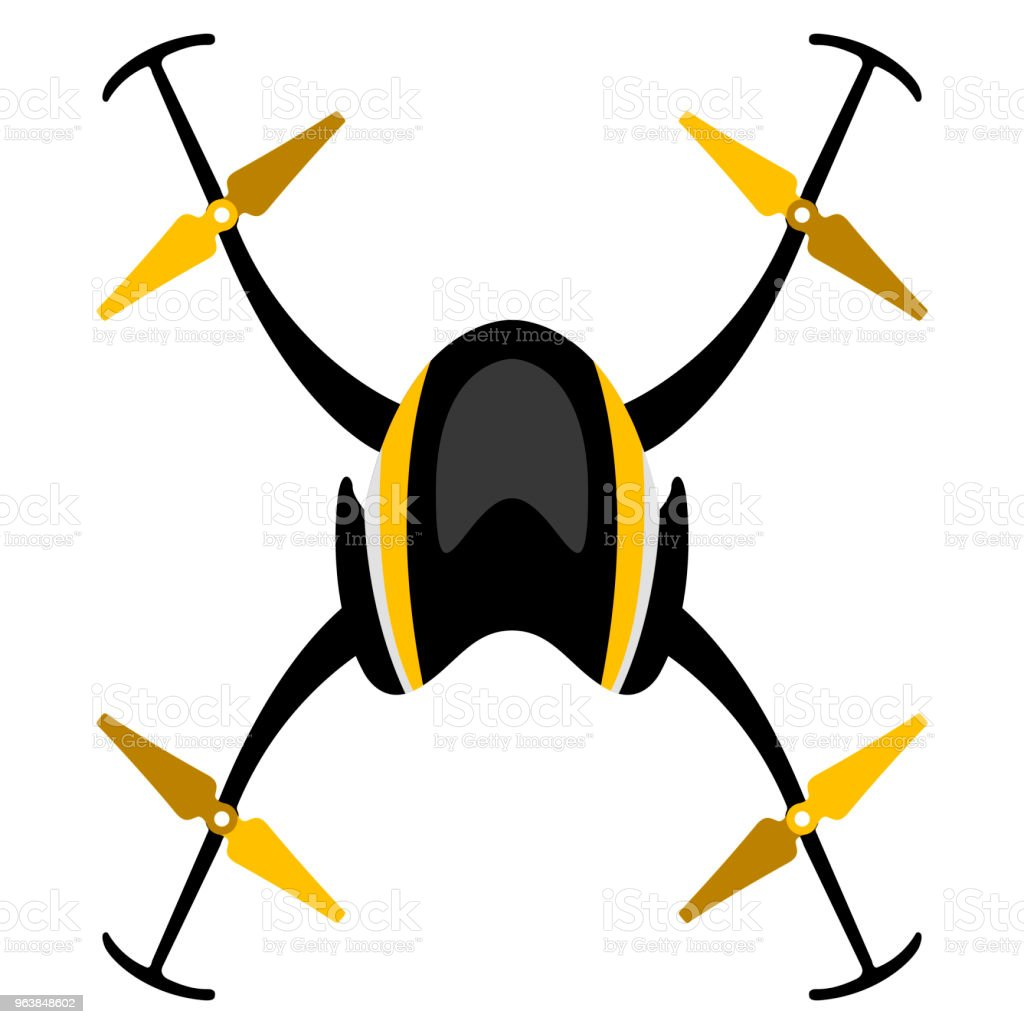 Isolated drone toy - Royalty-free Aerial View stock vector