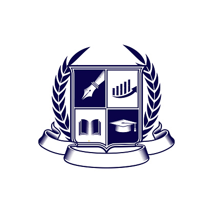 isolated education crest clip art icon vector
