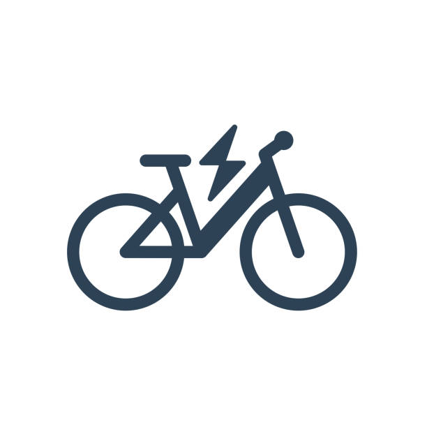 isolated electric city bike linear vector icon - lightning stock illustrations