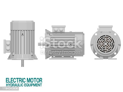 Isolated electric motor on white background.This hydraulic equipment is used for driving the hydraulic pump
