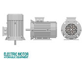 istock Isolated electric motor on white background.This hydraulic equipment is used for driving the hydraulic pump 1194040936