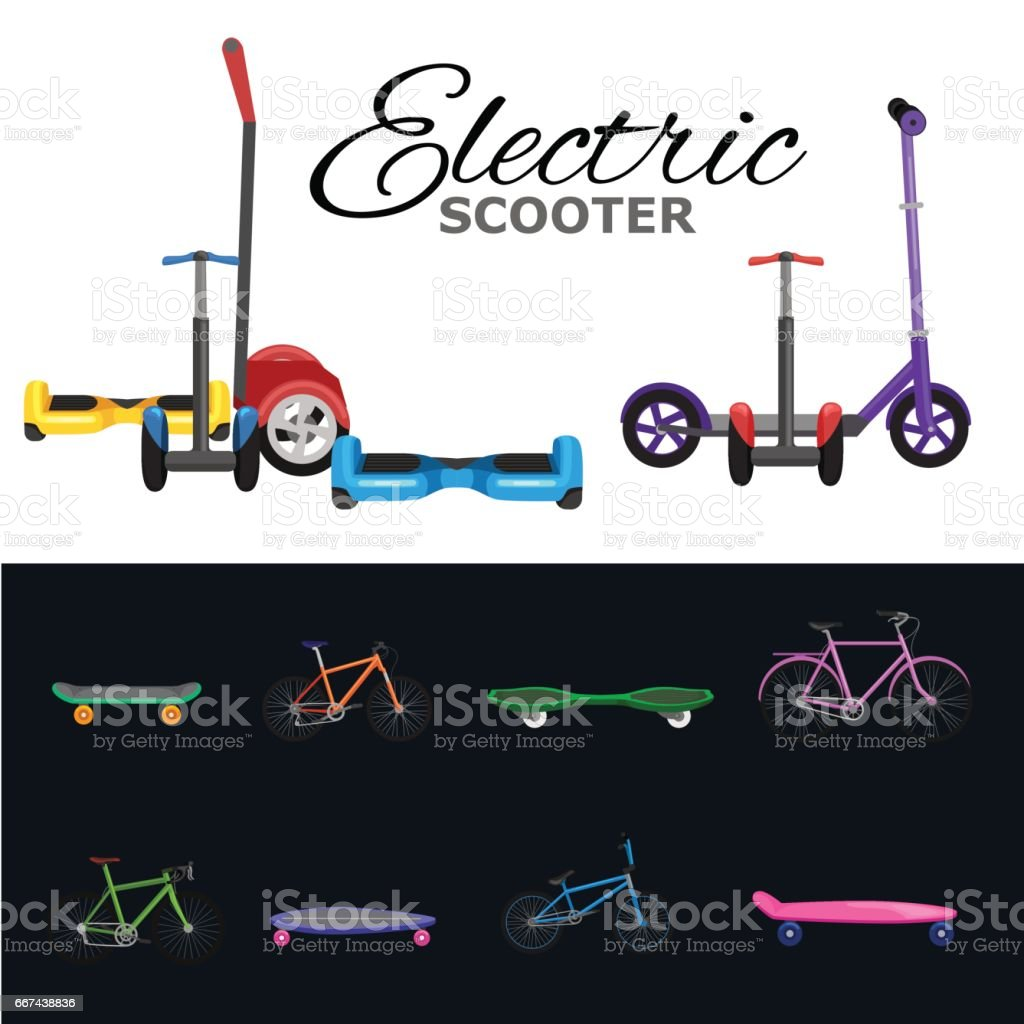 isolated electric scooter, one and two-wheeled mobility  vehicle vector illustration, Eco alternative city transpor vector art illustration