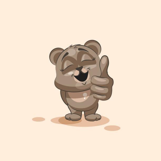 絶縁絵文字のキャラクターのイラストがクマ、親指アップステッカーを承認する - 怠け顔の絵文字点のイラスト素材/クリップアート素材/マンガ素材/アイコン素材