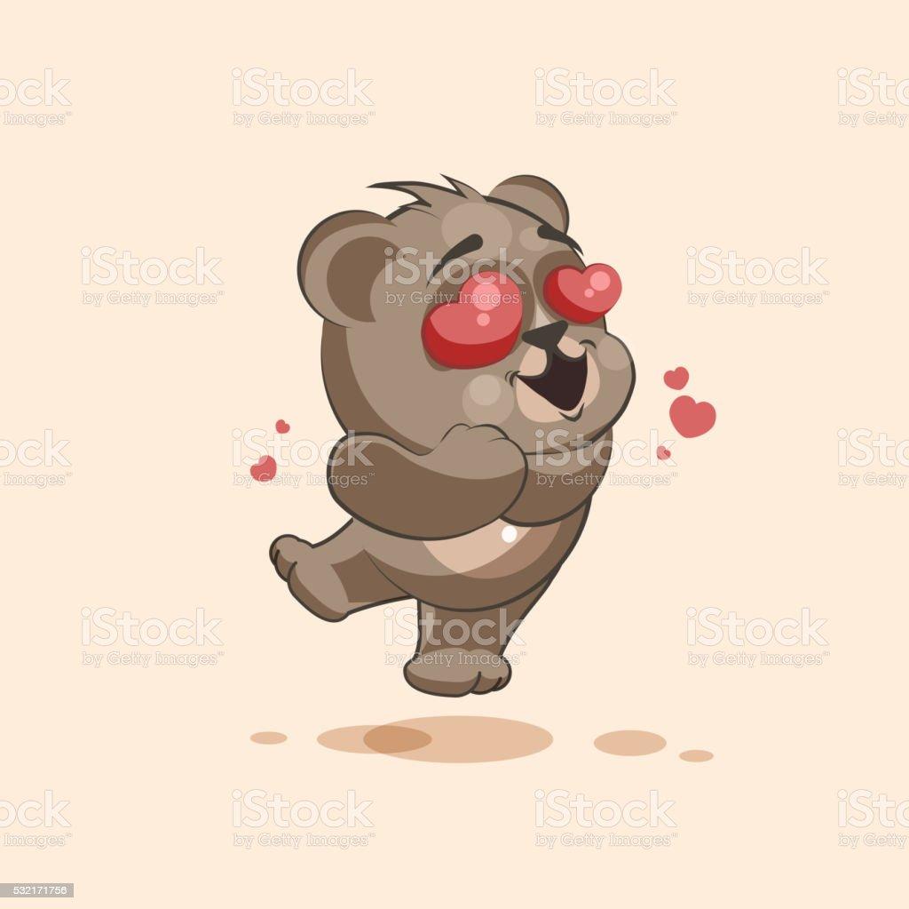 personnage de dessin anim isol emoji ours dans lamour avec des coeurs volant personnage - Dessin Avec Emoji