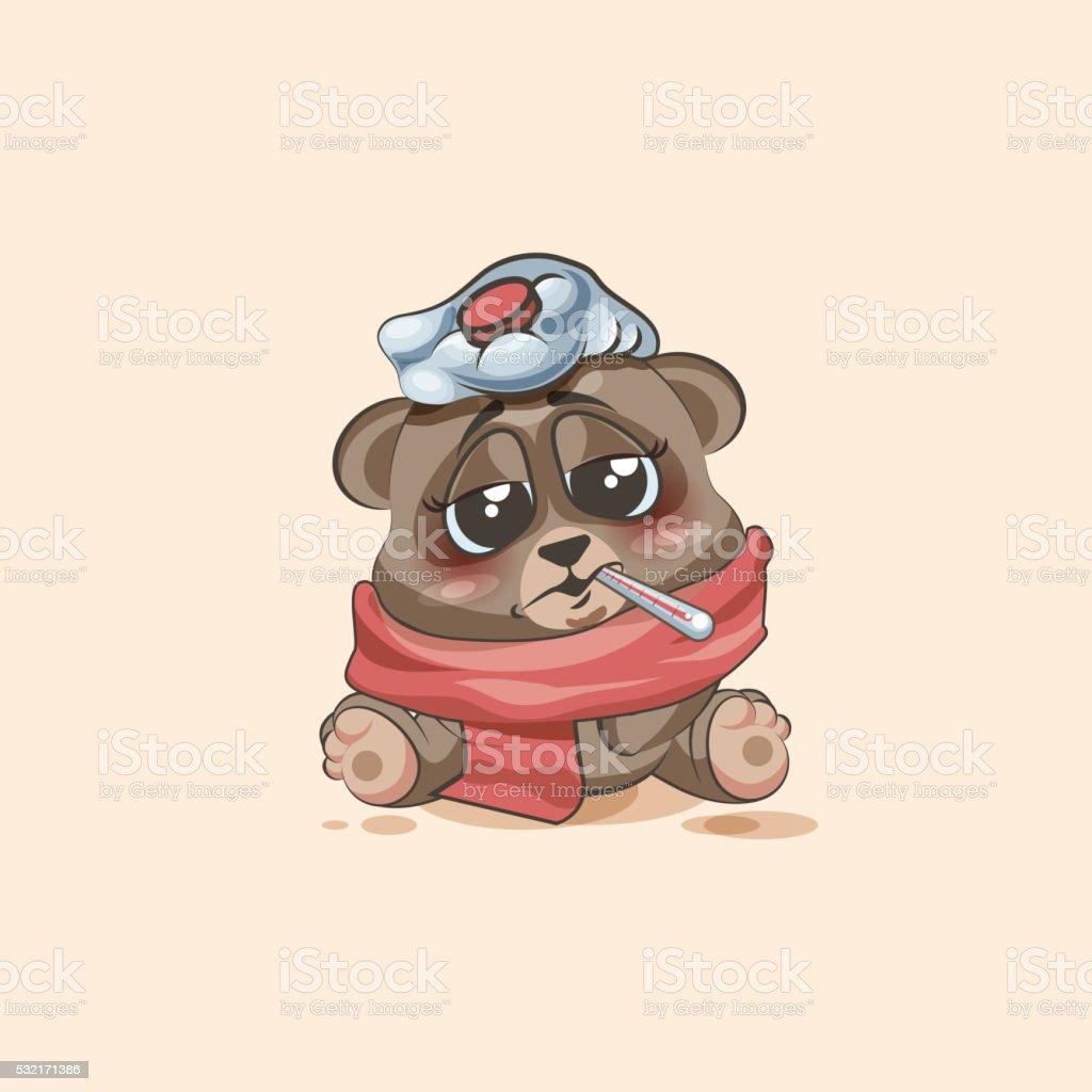 personnage de dessin anim isol emoji bear malade avec thermomtre dans la bouche personnage de dessin - Dessin Avec Emoji