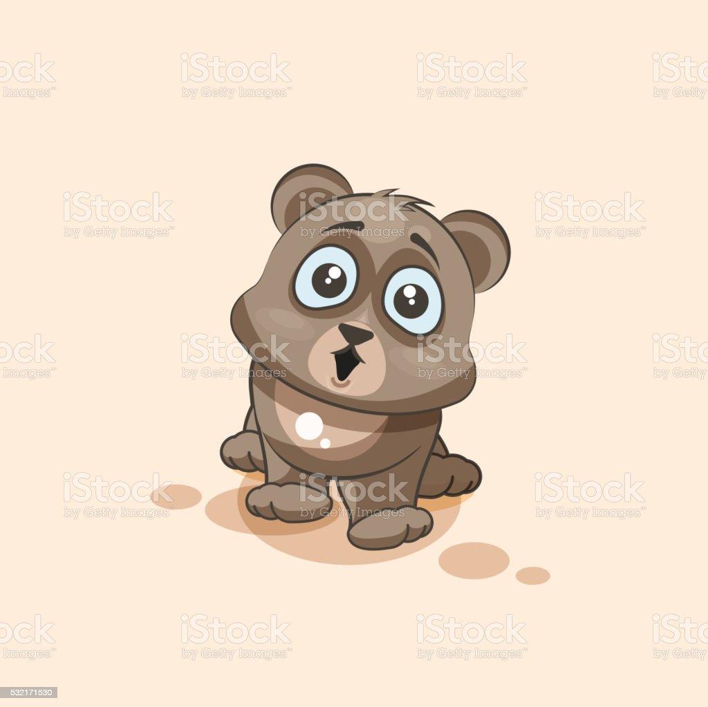 personnage de dessin anim isol emoji bear surpris avec de grands yeux autocollant personnage de dessin - Dessin Avec Emoji