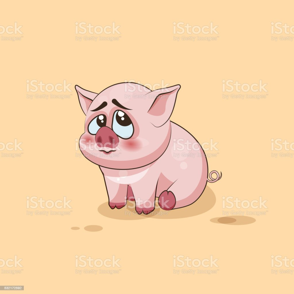 isolated Emoji character cartoon Pig embarrassed, shy and blushes sticker vector art illustration