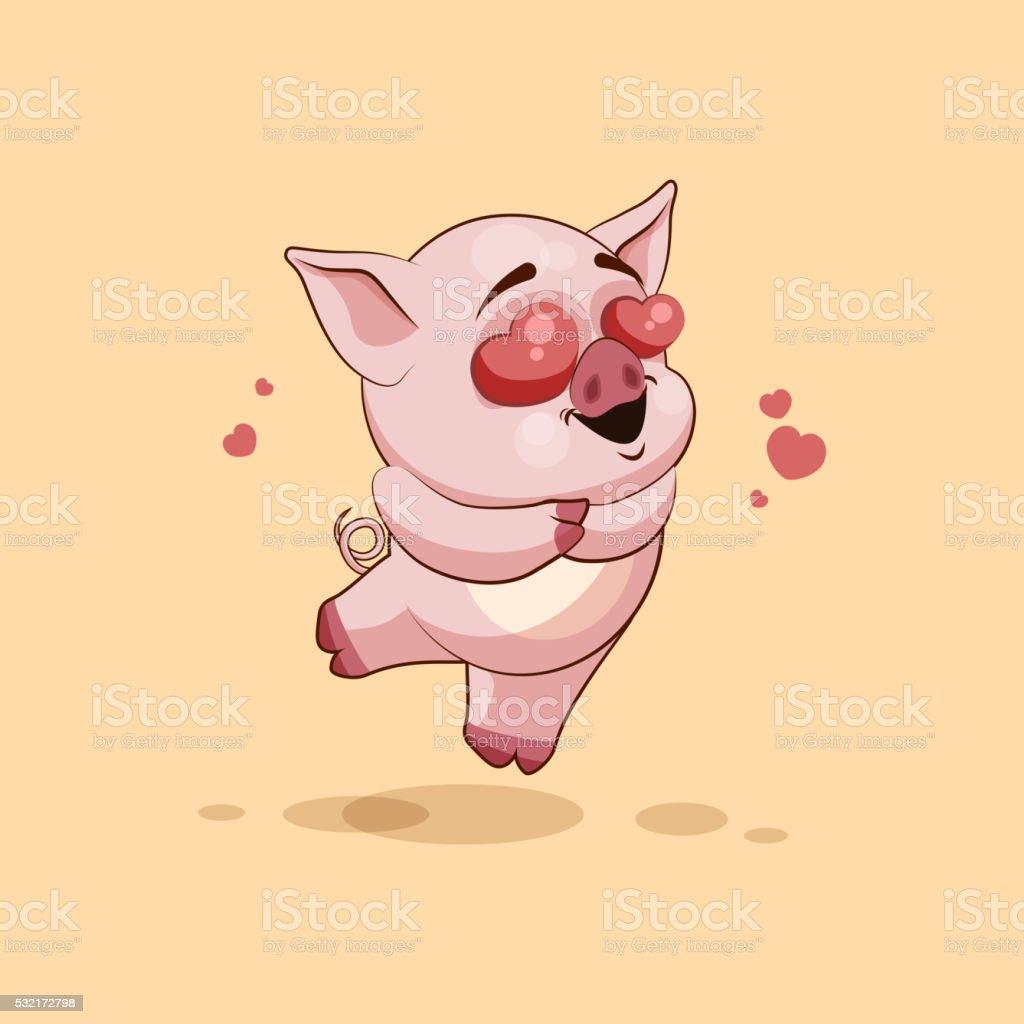 personnage de dessin anim isol emoji cochon volant dans lamour avec des coeurs personnage - Dessin Avec Emoji