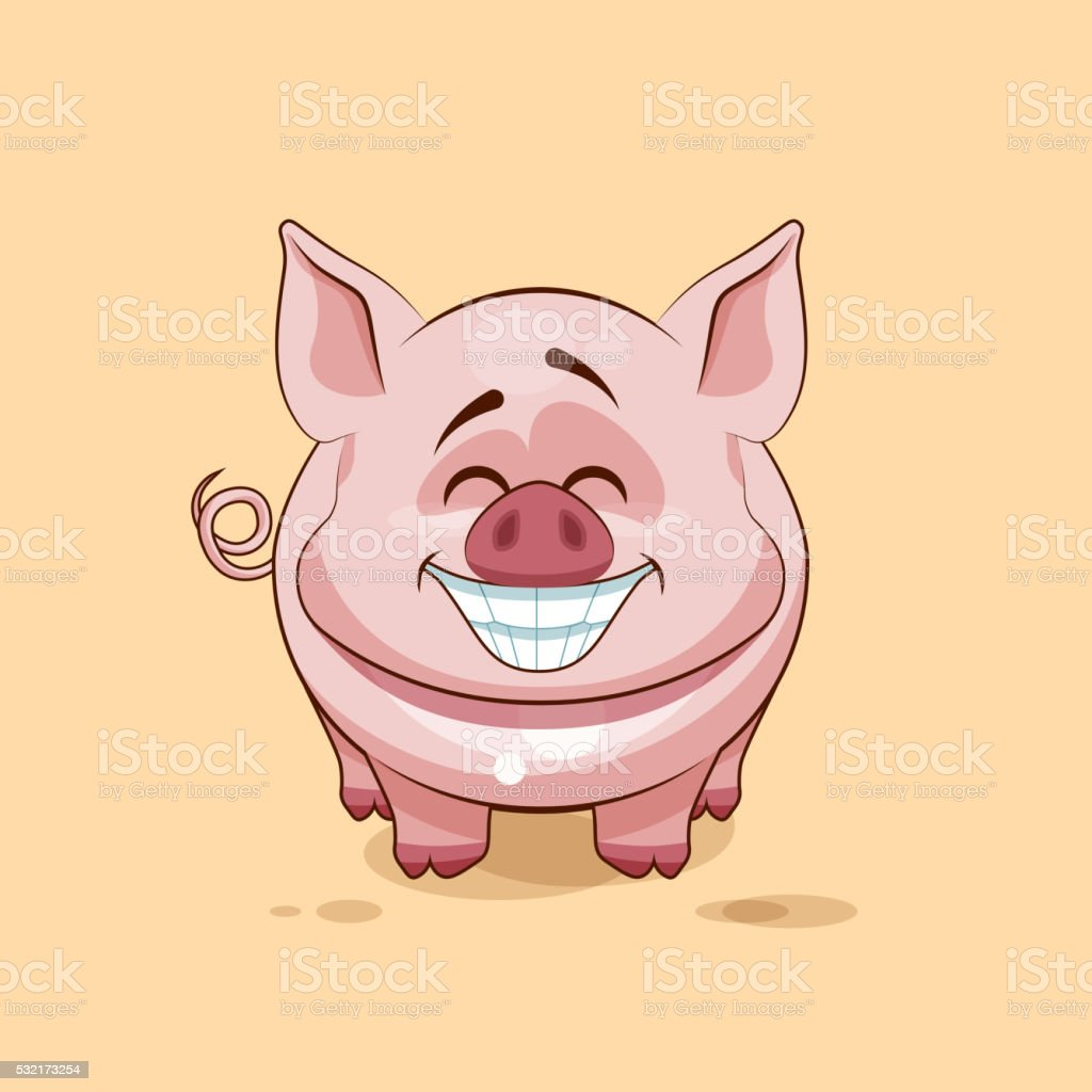isolated Emoji character cartoon Pig with a huge smile from vector art illustration