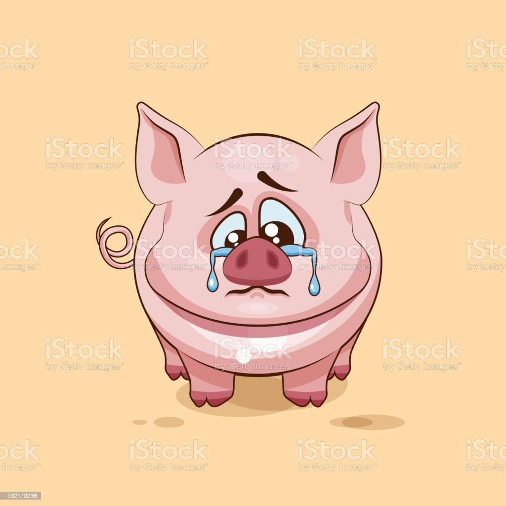 Isolierte Emoji Charakter Cartoon Traurig Und Verärgert Schwein ...