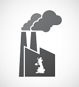 Isolated factory with  a map of the UK