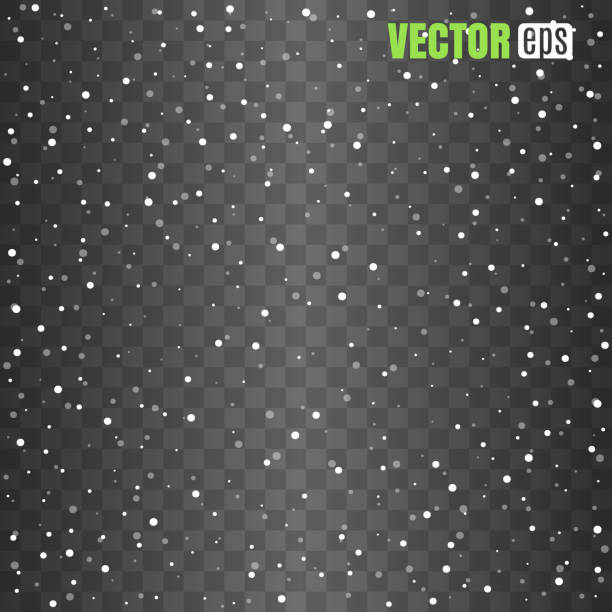 Isolated Falling Snow Overlay on transparent background. vector art illustration
