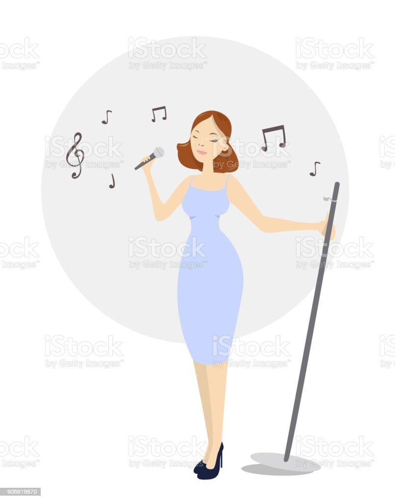 Isolated female singer. vector art illustration
