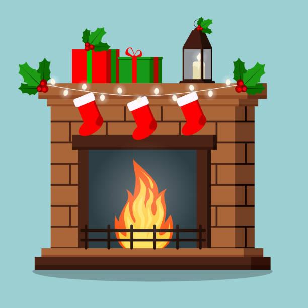 ilustrações de stock, clip art, desenhos animados e ícones de isolated fireplace decorated christmas gifts, mistletoe, garland, socks. - braseiro