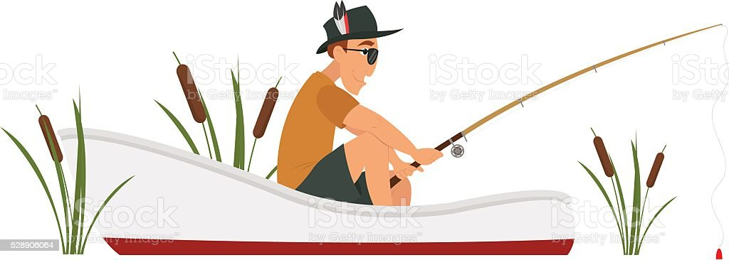 Isolated fisherman on a boat vector art illustration