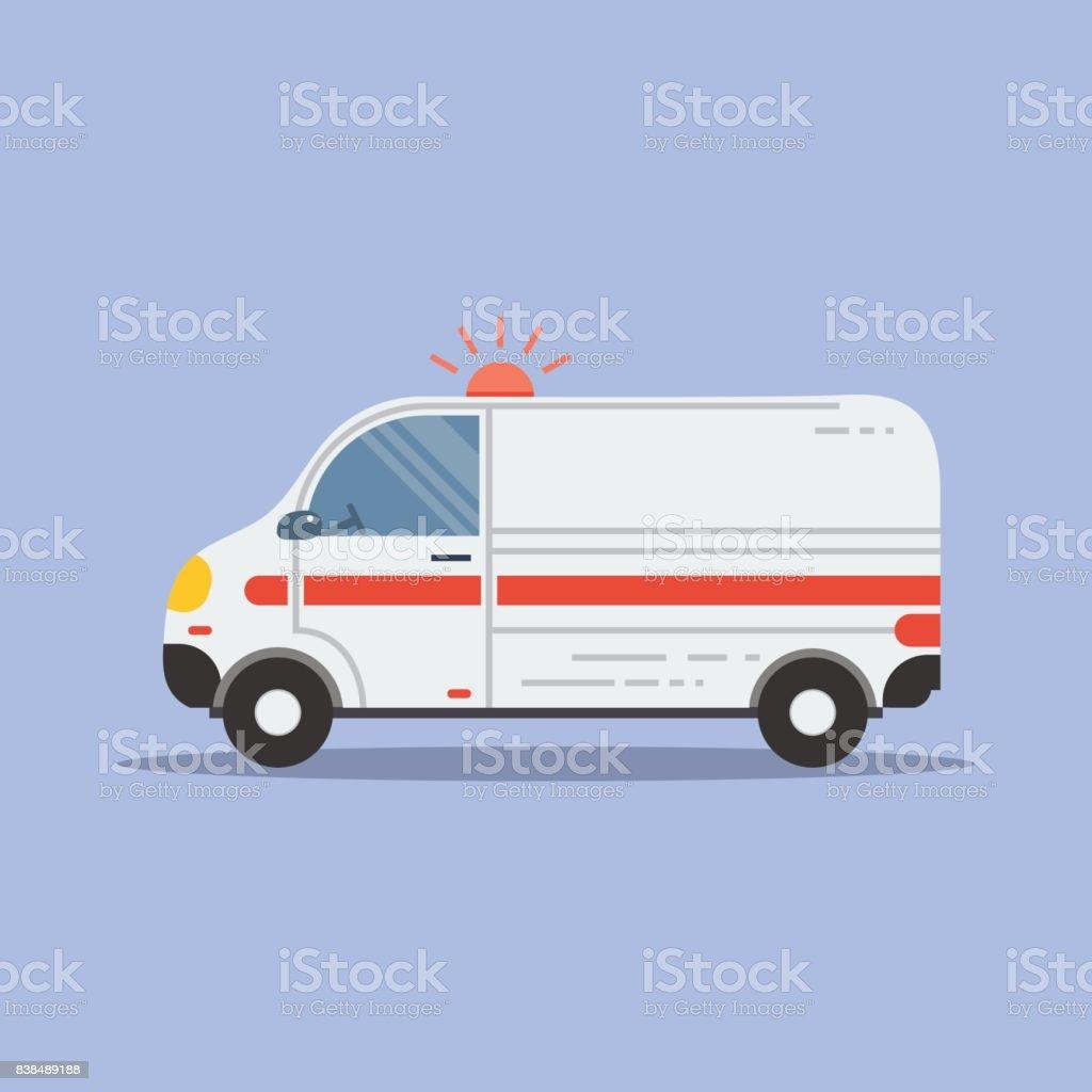 Isolated flat ambulance icon vector art illustration