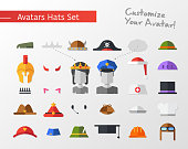 Isolated flat design hats and caps for social network avatars