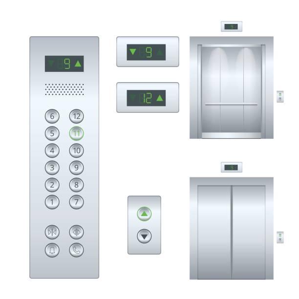 illustrazioni stock, clip art, cartoni animati e icone di tendenza di illustrazione piatta isolata porte dell'ascensore per edifici in metallo cromato aperte e chiuse interne realistiche della sala e pannello a bottone. set di design dell'ascensore piatto - ascensore